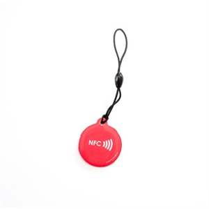 Picture of Epoxy keyfob with NFC logo Round shape Red