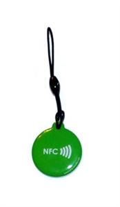 Obrázok pre výrobcu Epoxy keyfob with NFC logo Round shape Green